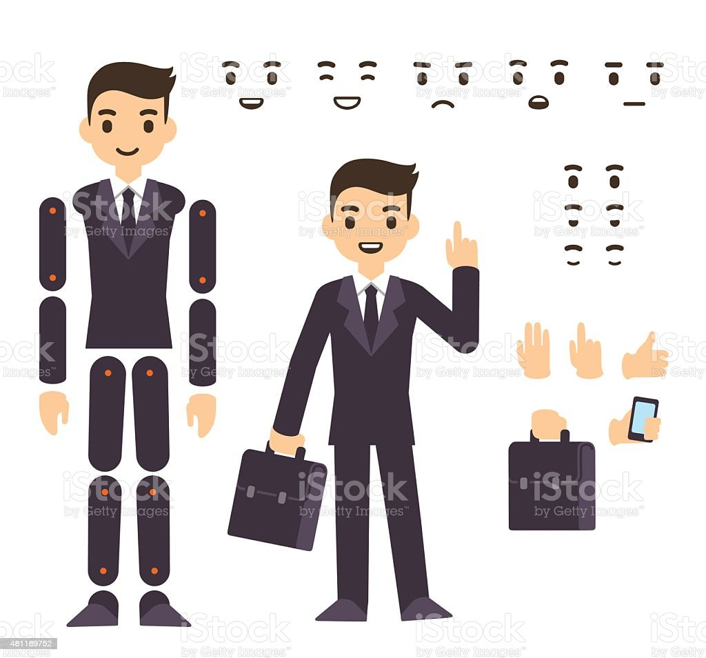Businessman character animation vector art illustration