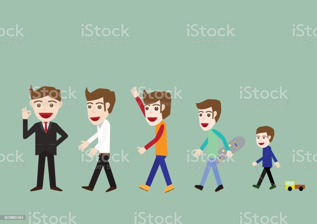 Businessman character cartoon vector officer set vector art illustration