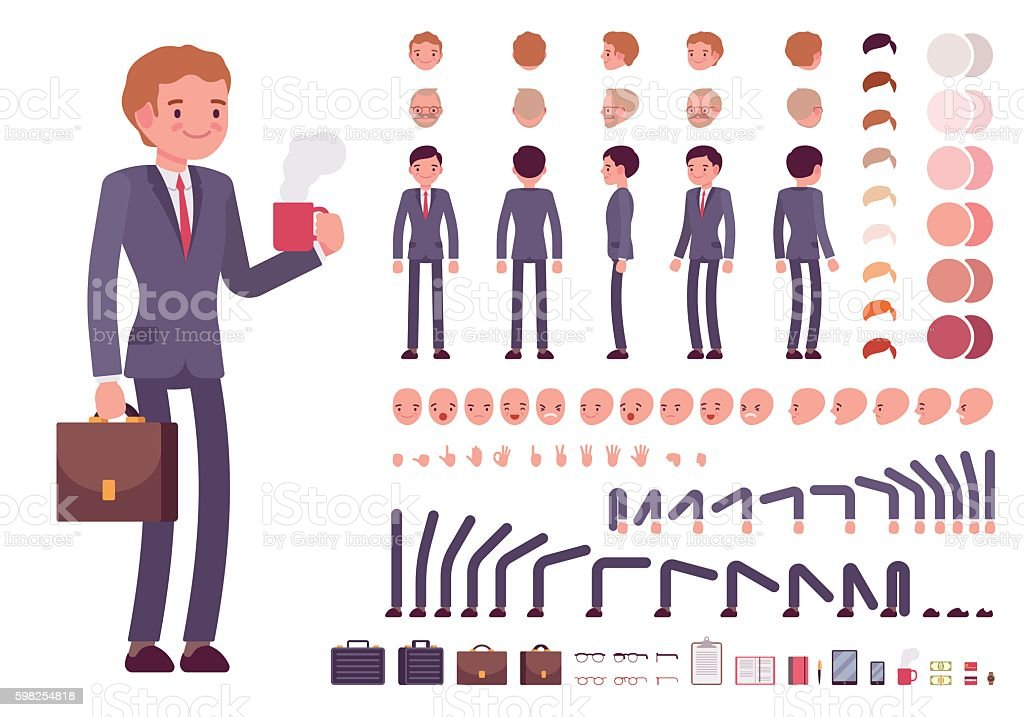 Businessman character creation set vector art illustration