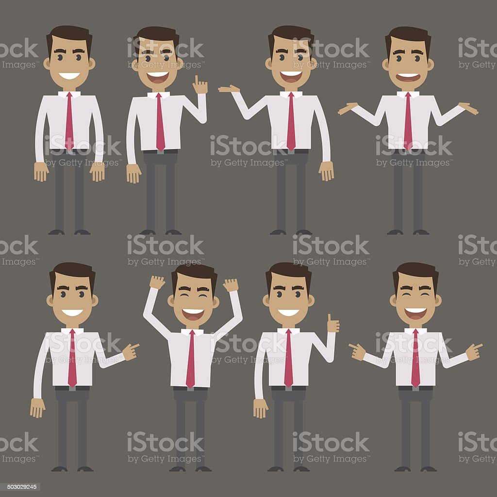 Businessman character in different poses vector art illustration