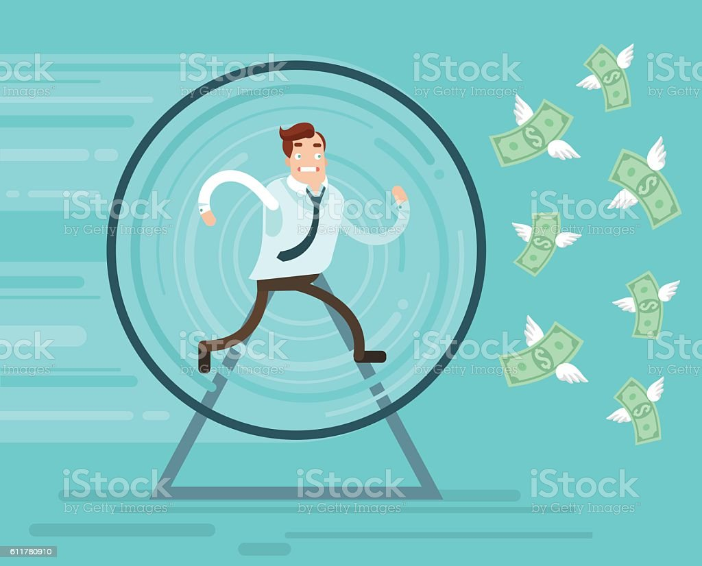 Businessman character runs trying catch money vector art illustration