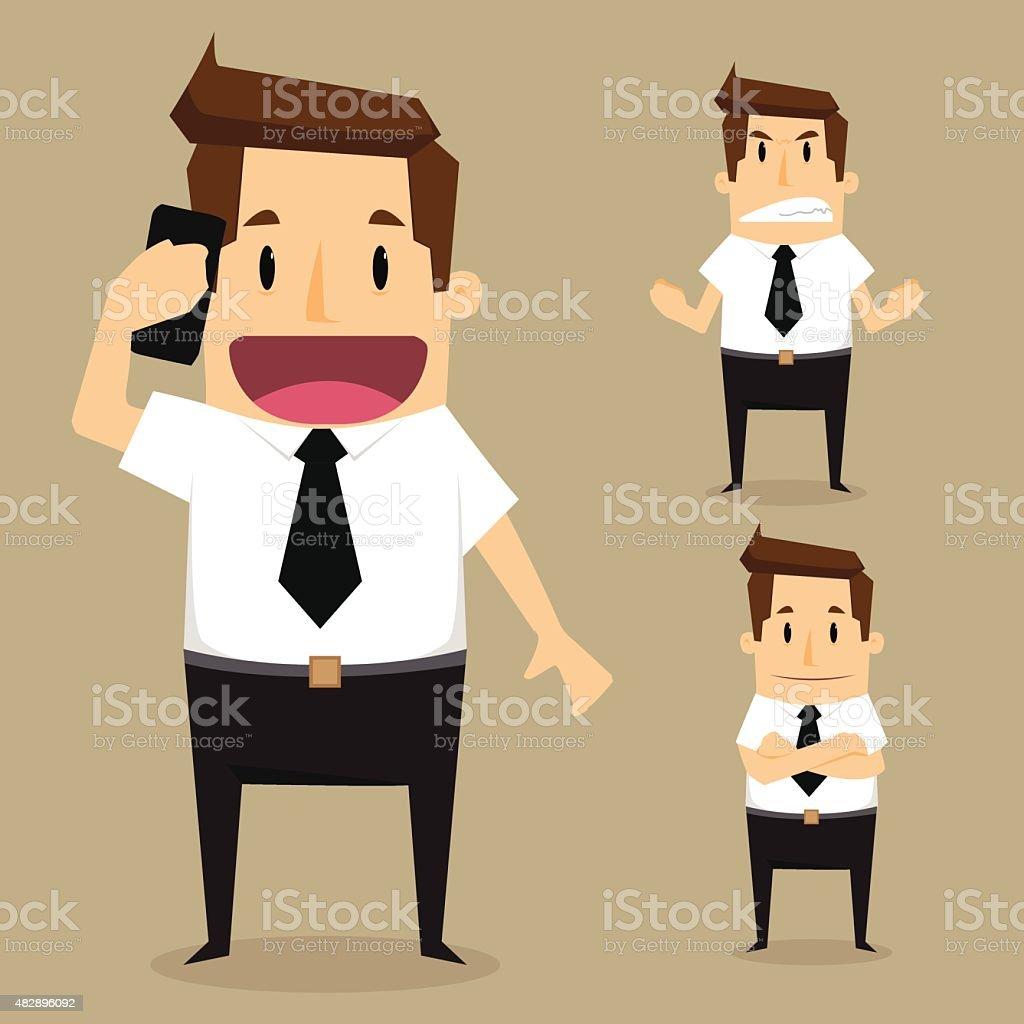 businessman character set vector art illustration