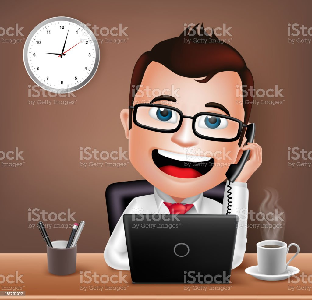 Businessman Character Working on Office Desk Table with Telephone vector art illustration