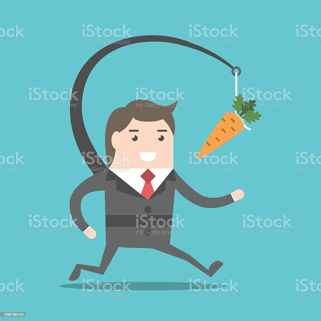Businessman chasing carrot vector art illustration