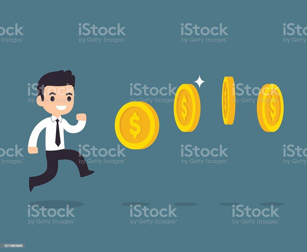 Businessman chasing coins vector art illustration
