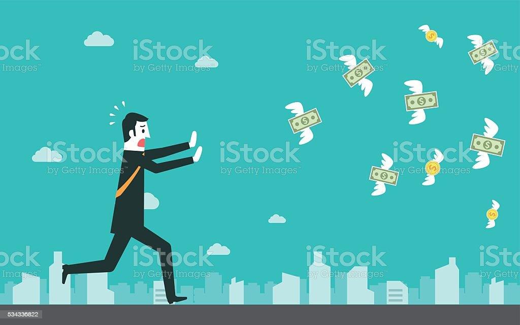 Businessman chasing flying dollar money vector art illustration