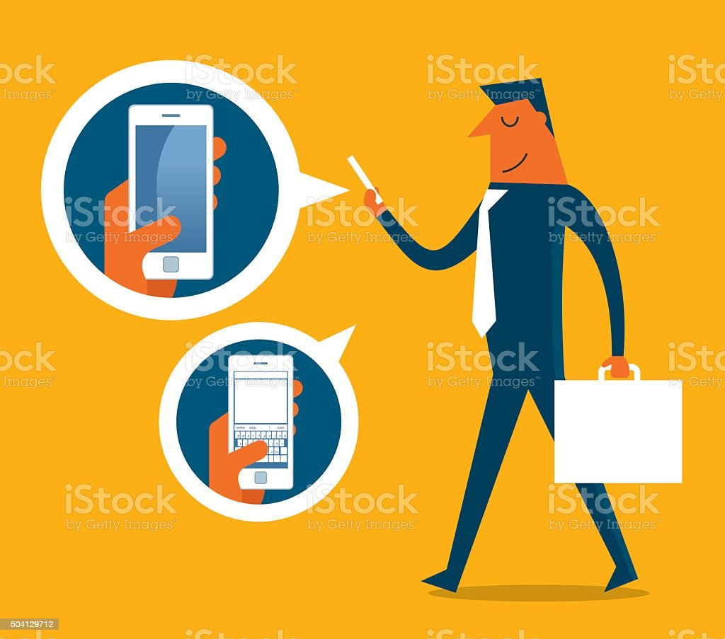 Businessman checking phone vector art illustration