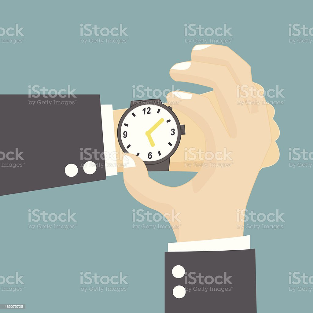 Businessman checking the time on his wrist watch vector art illustration
