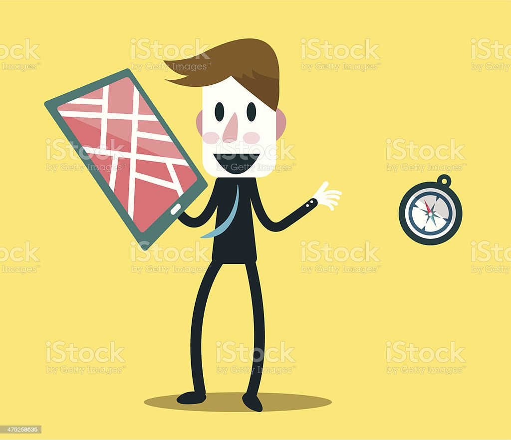 Businessman choose smart device for searching location. royalty-free stock vector art