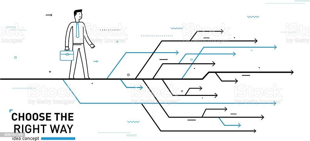 Businessman chooses the right path vector art illustration