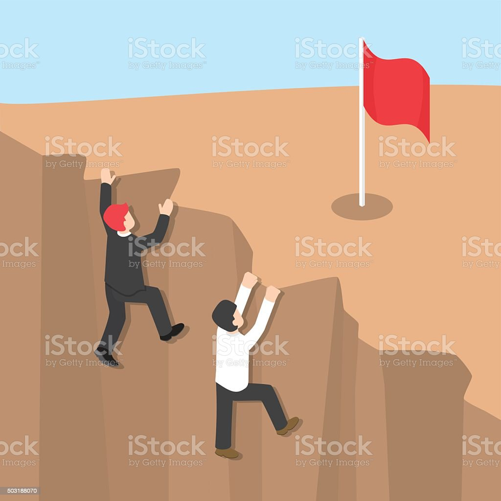 Businessman climb up the cliff to reaching his success vector art illustration