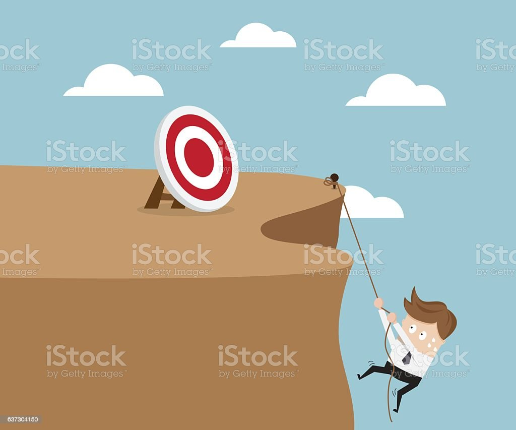 Businessman Climbing Cliff To Go To Target vector art illustration