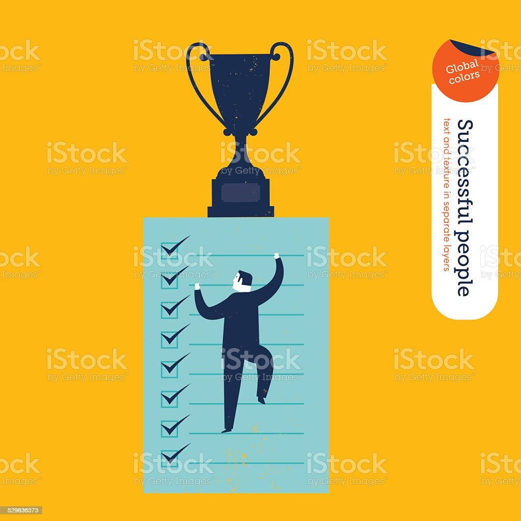 Businessman climbing in to a list vector art illustration