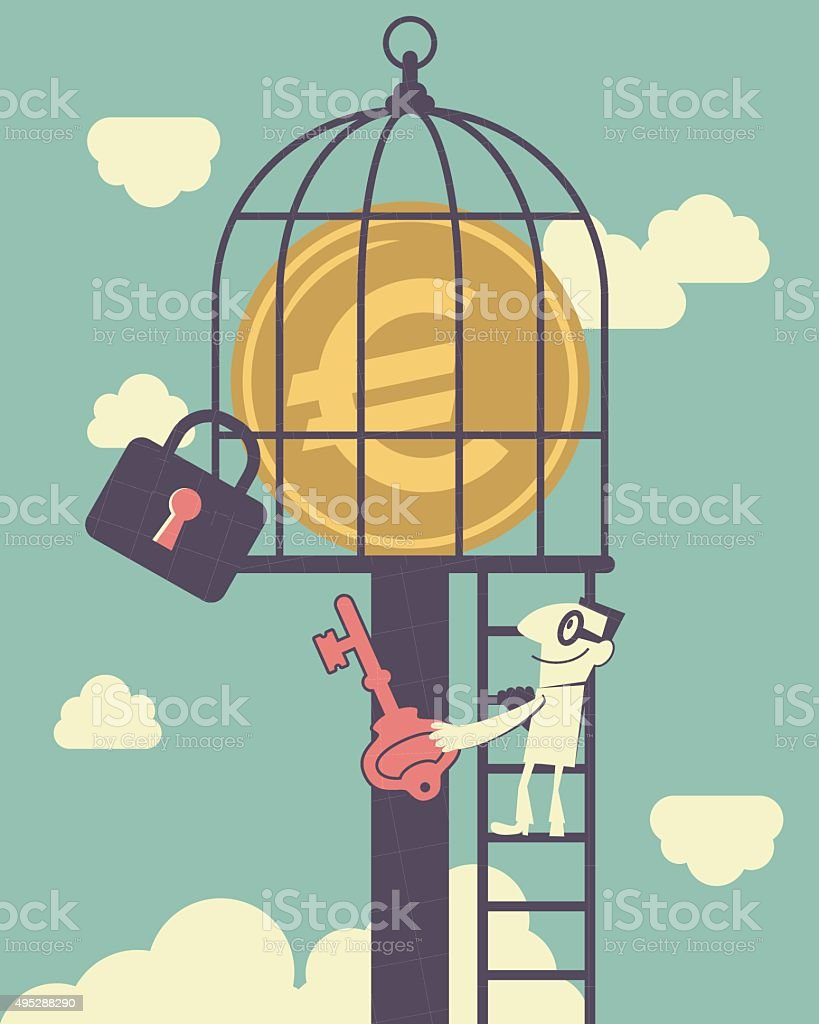 Businessman climbing ladder, holding key, European Union Currency in birdcage vector art illustration