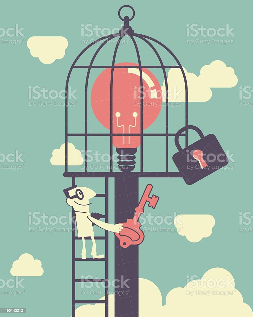 Businessman climbing ladder, holding key, idea light bulb in birdcage vector art illustration