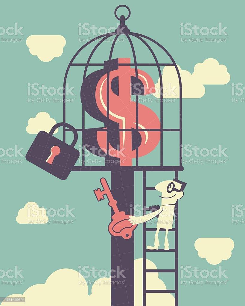 Businessman climbing ladder, holding key, money symbol inside of birdcage vector art illustration