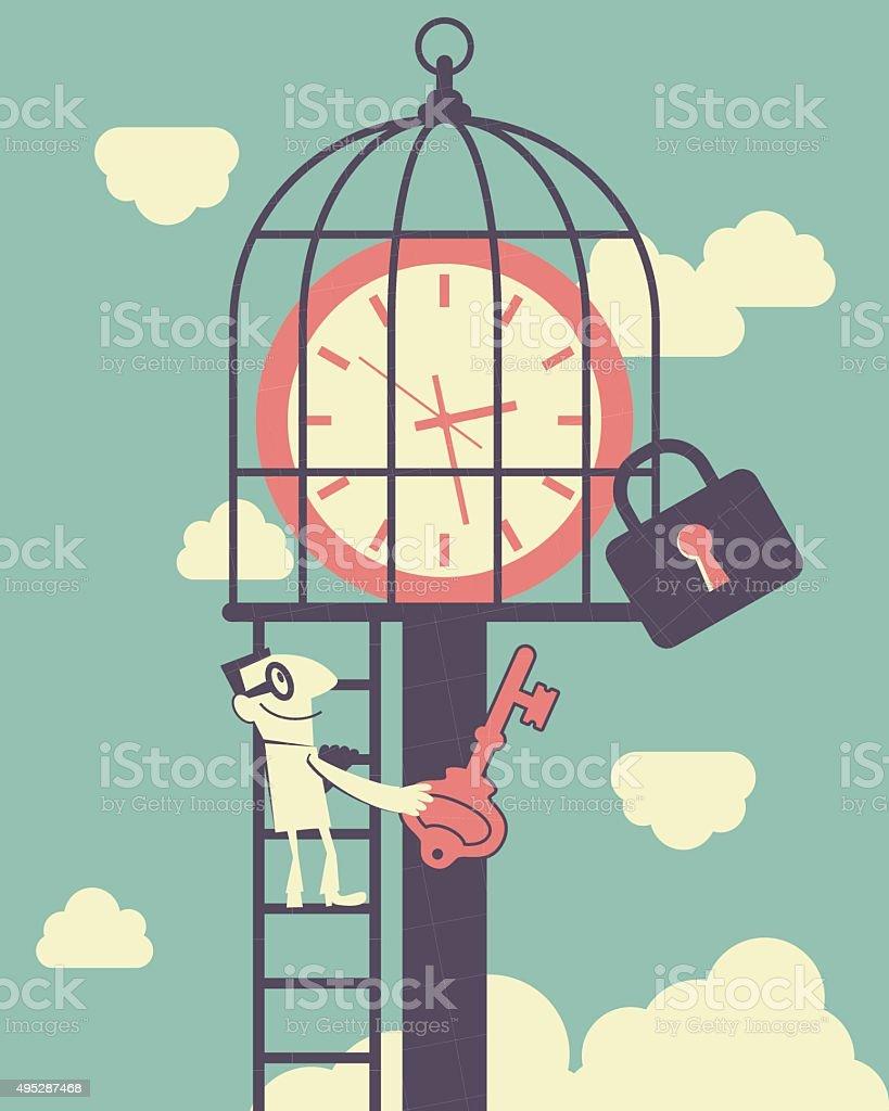 Businessman climbing ladder, holding key, time clock in birdcage vector art illustration