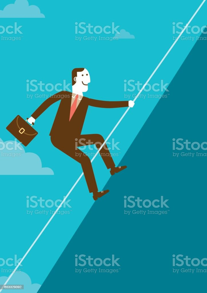 Businessman Climbing Mountain with Rope | New Business Concept vector art illustration