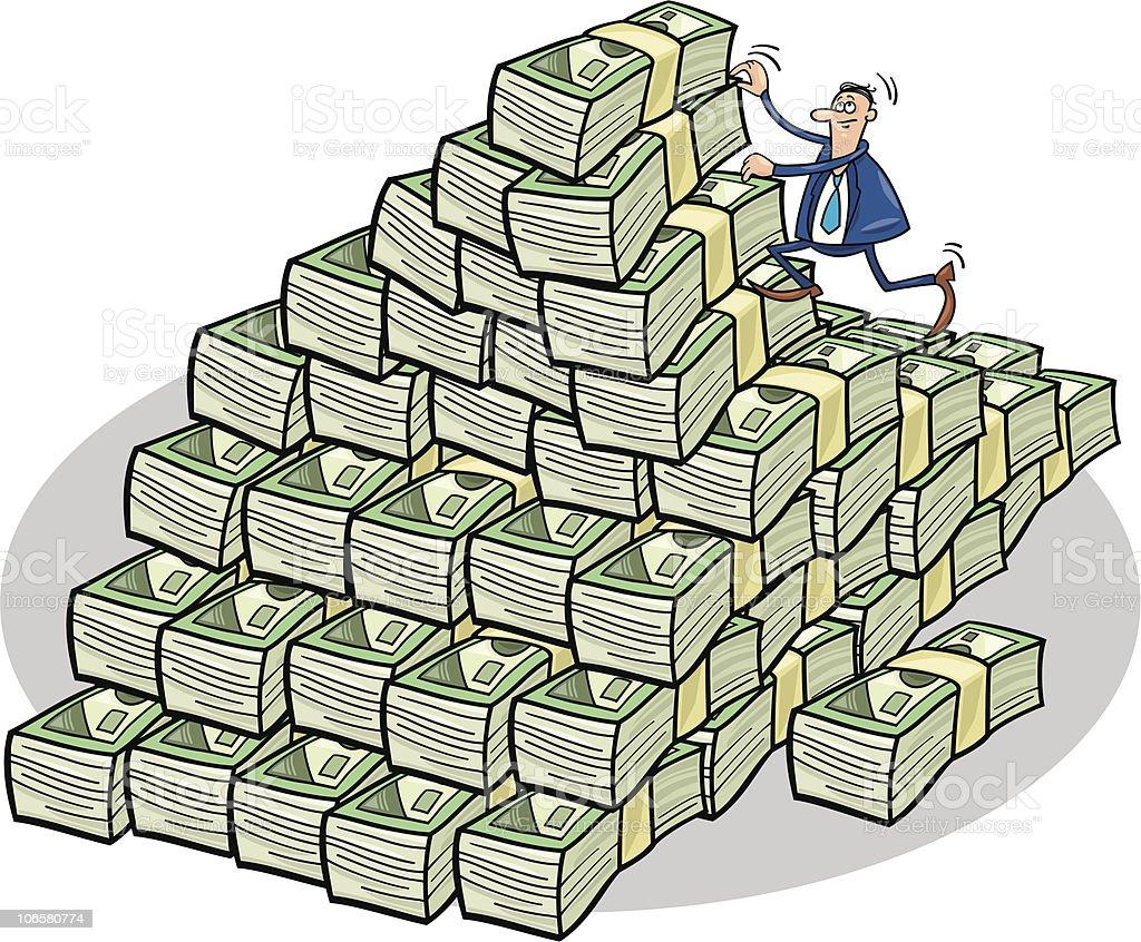 businessman climbing on money mountain royalty-free stock vector art