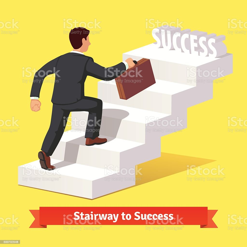 Businessman climbing the staircase of success vector art illustration