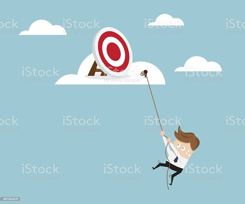 Businessman Climbing to Target on Cloud with Robe vector art illustration