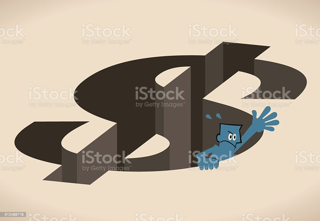 Businessman climbing up (escape) from Dollar shaped hole (money pit) vector art illustration