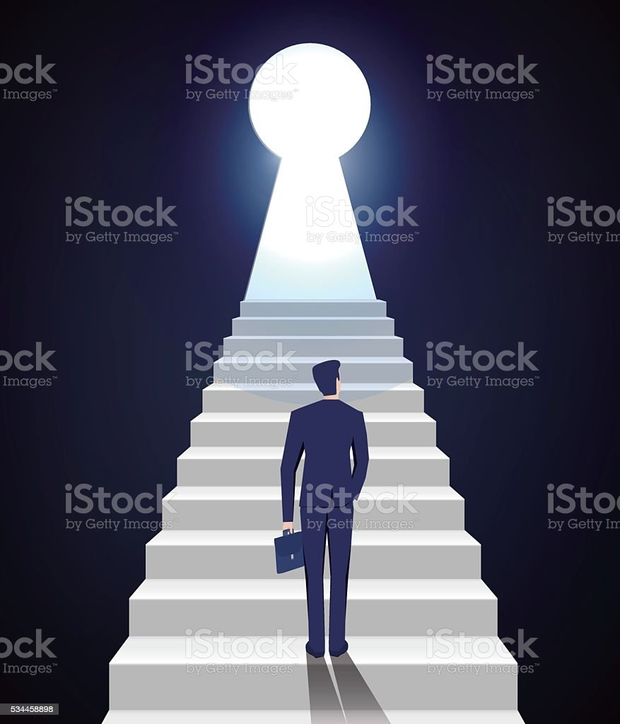 businessman climbing vector art illustration
