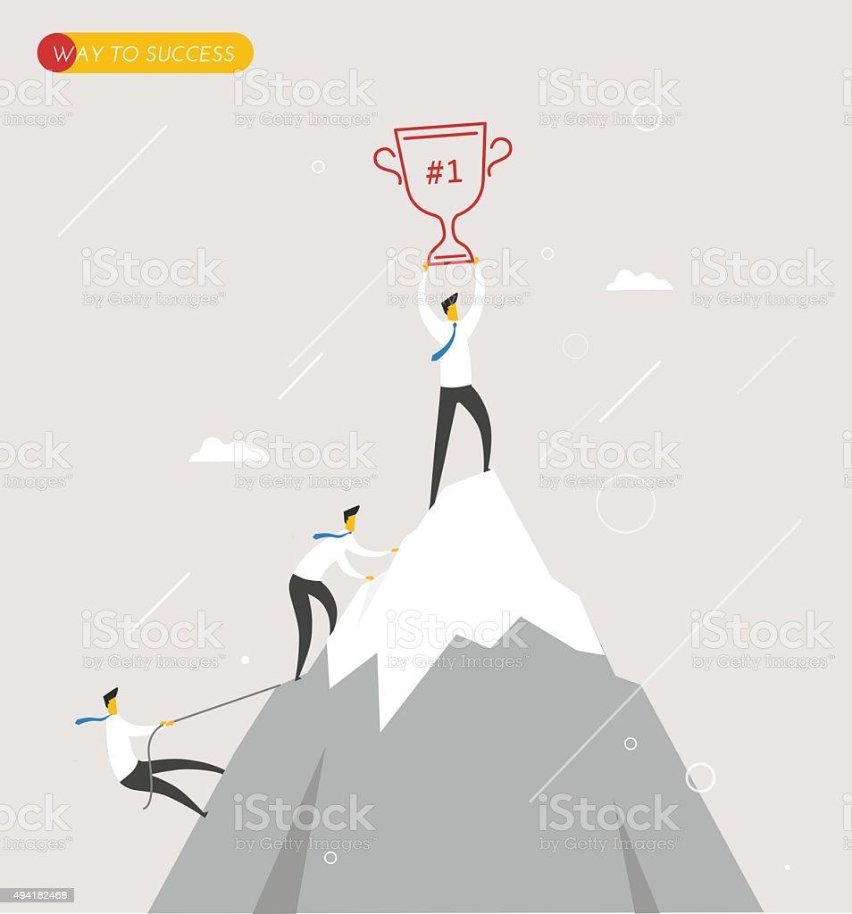 Businessman climbs the mountain, cup in hand. Winning success hard vector art illustration