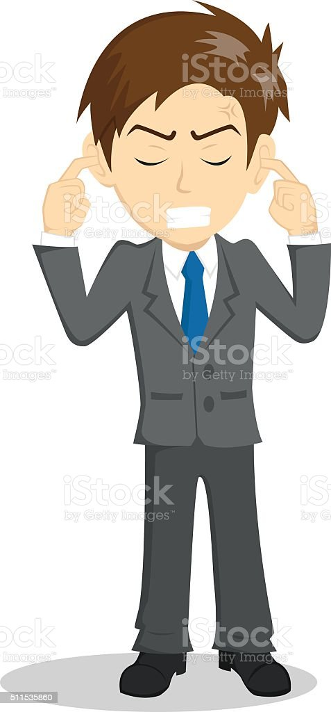 Businessman Closing Ears With Angry Expression vector art illustration