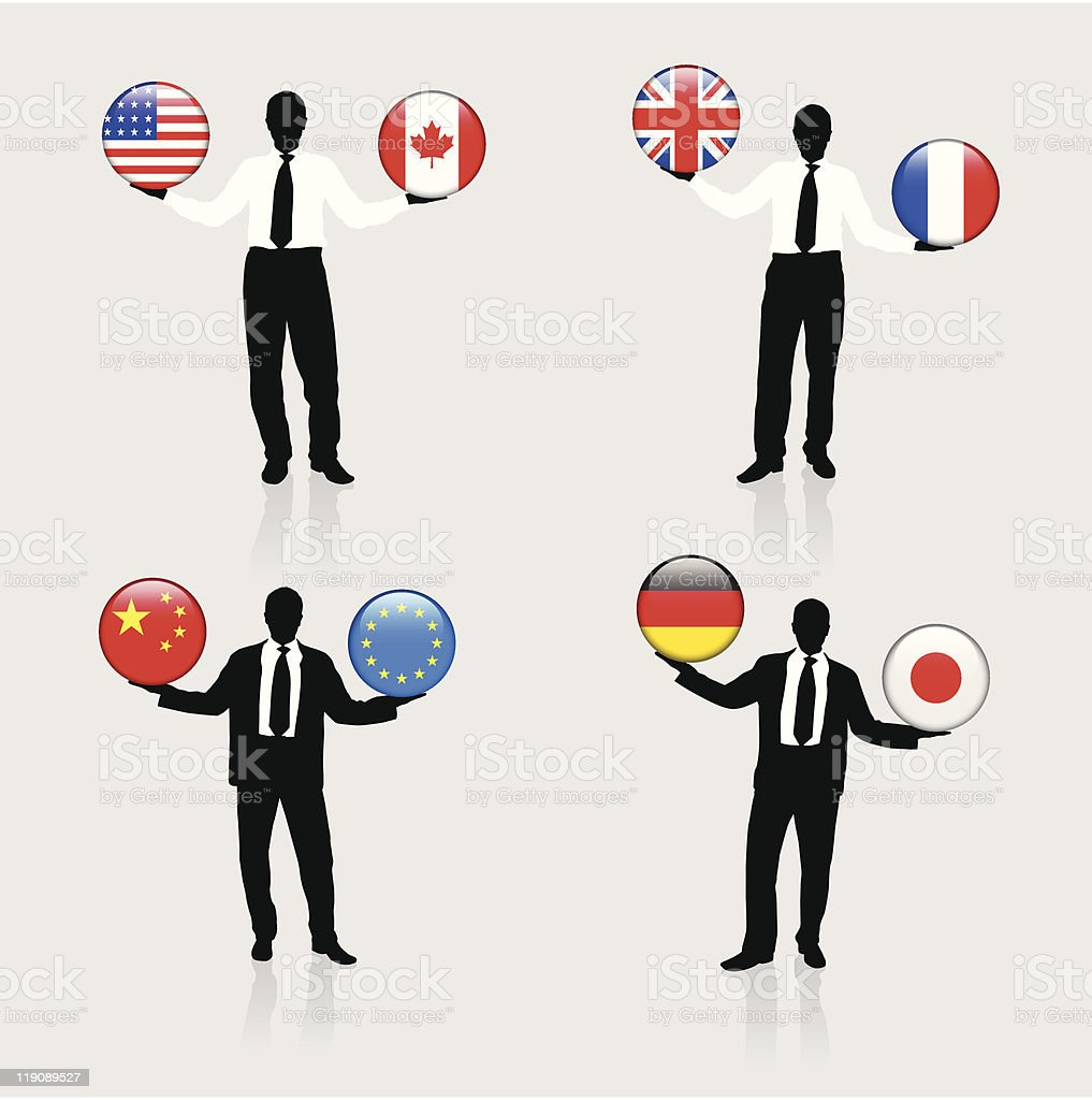 Businessman collection with Flag Buttons royalty-free stock vector art