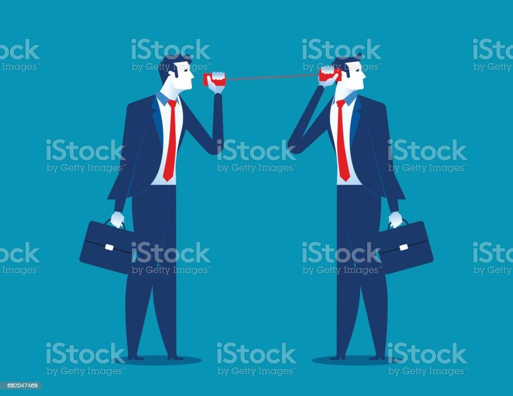 Businessman communicating through tin cans. Concept business communication. Vector flat. vector art illustration