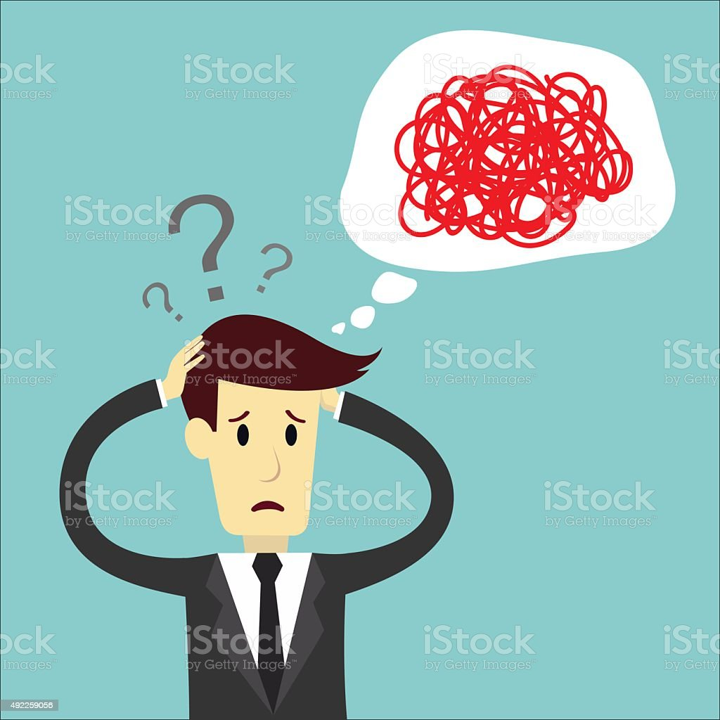 Businessman confuse of thinking and manage vector art illustration