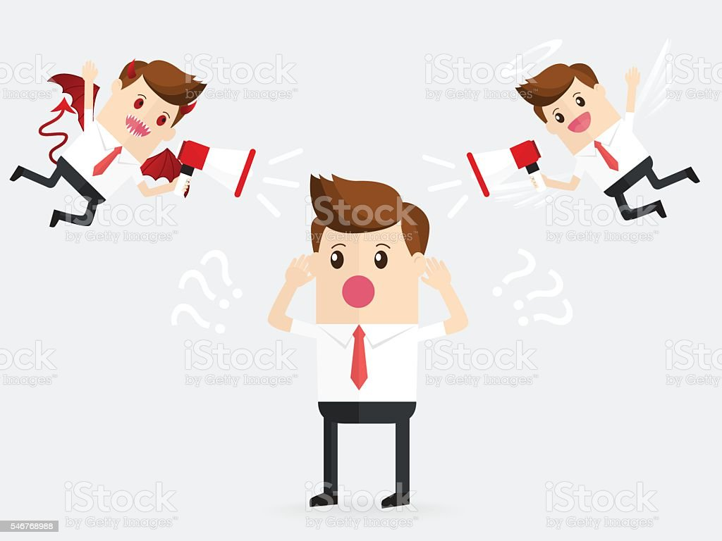 businessman confusing with demon and angel help to decide vector art illustration