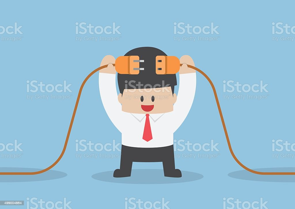 Businessman connecting a electric plug vector art illustration