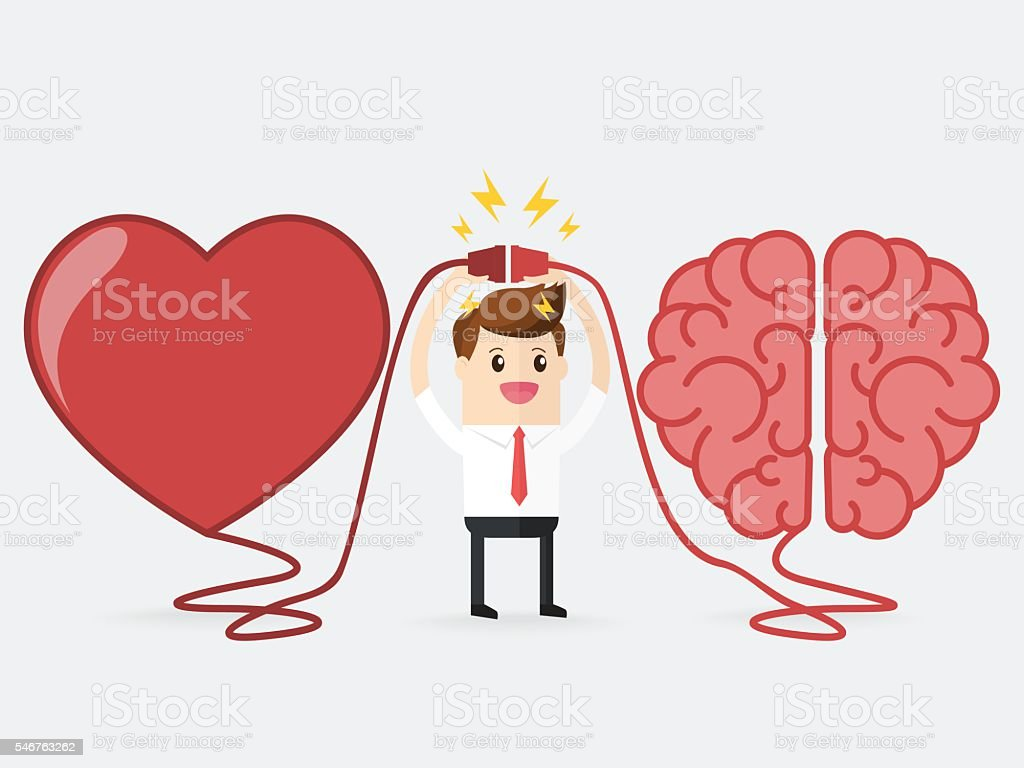 businessman connecting brain and heart interactions concept best teamwork vector art illustration