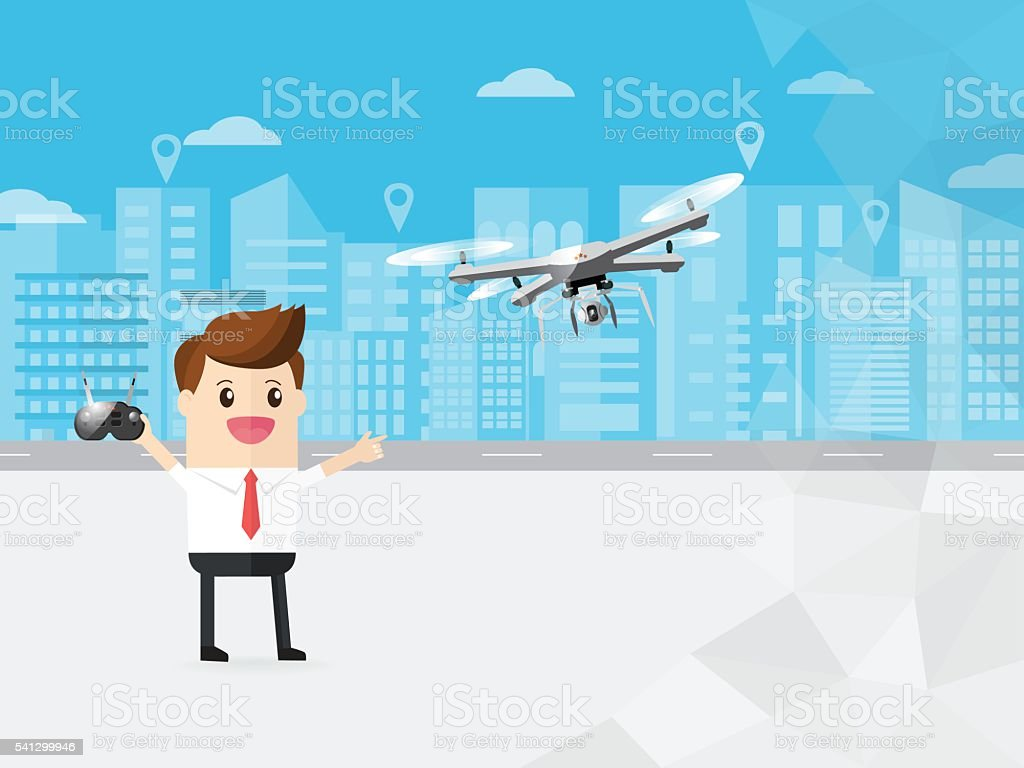 businessman control modern drone with camera flying in the sky vector art illustration