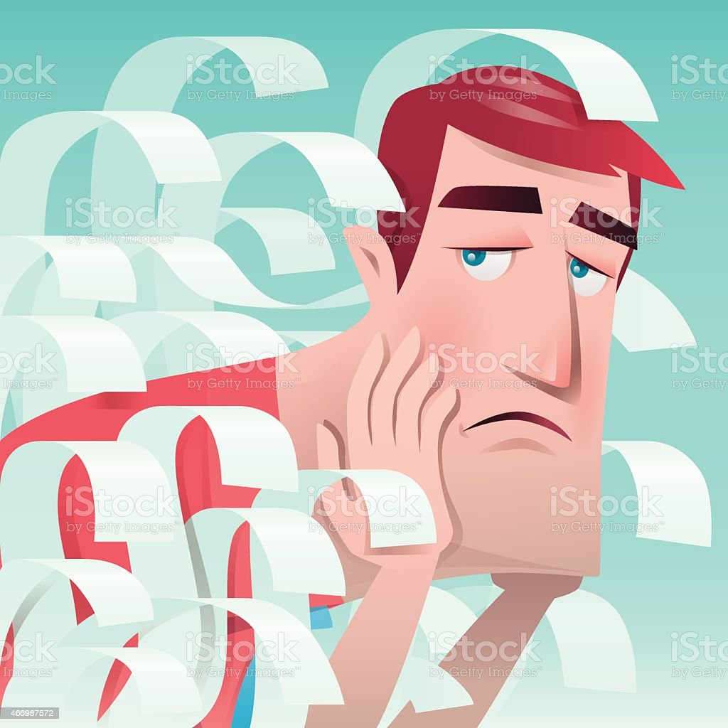 businessman covered by sheets vector art illustration