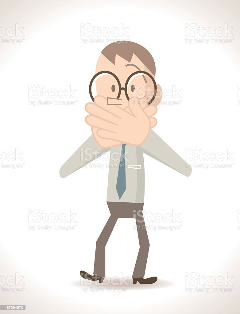 Businessman covering his mouth with hands (speak no evil gesture) vector art illustration