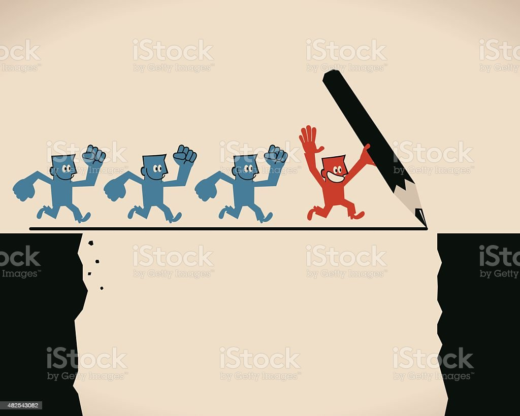 Businessman cross cliff on line drawn with pencil by leader vector art illustration