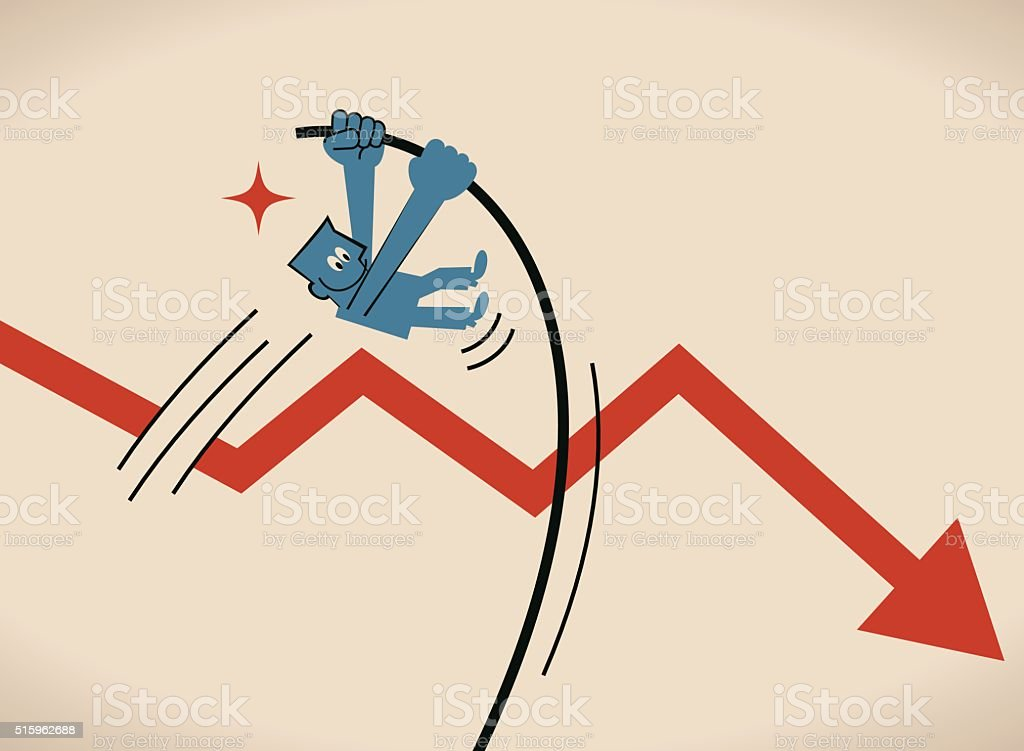 Businessman crossing downfall arrow with the pole vault (pole-vaulting, jump) vector art illustration