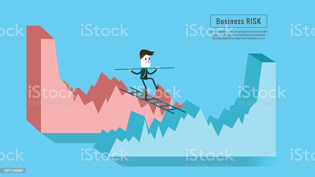 Businessman crossing from down graph to growth graph. vector art illustration