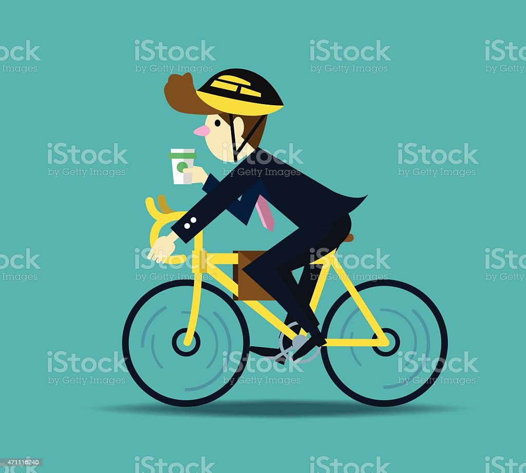 Businessman cycling to work. vector art illustration