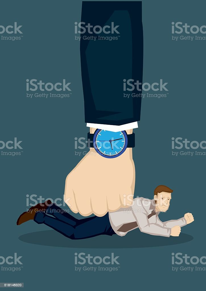 Businessman Defeated by Deadline Vector Illustration vector art illustration