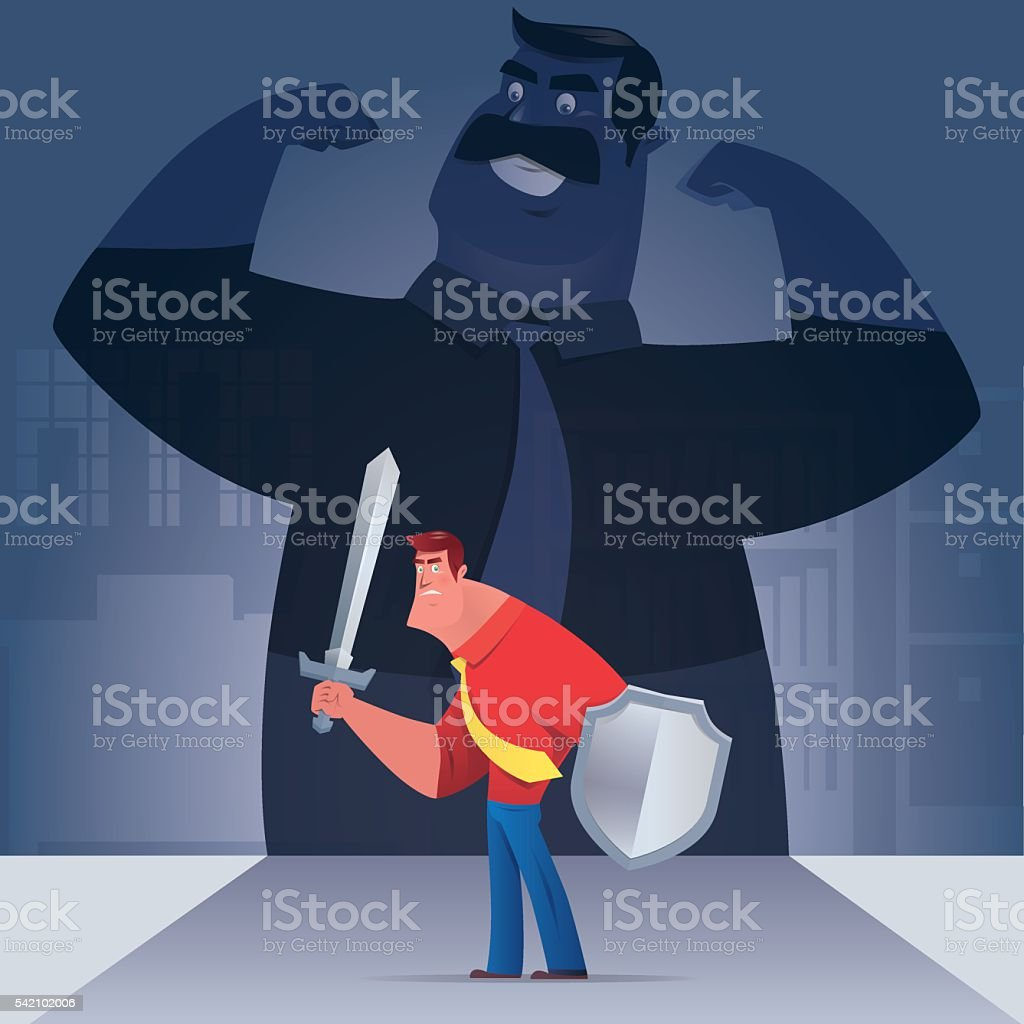 businessman defending vector art illustration