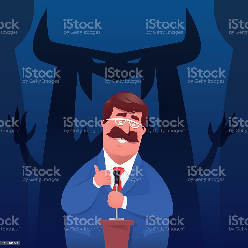 businessman delivering speech vector art illustration