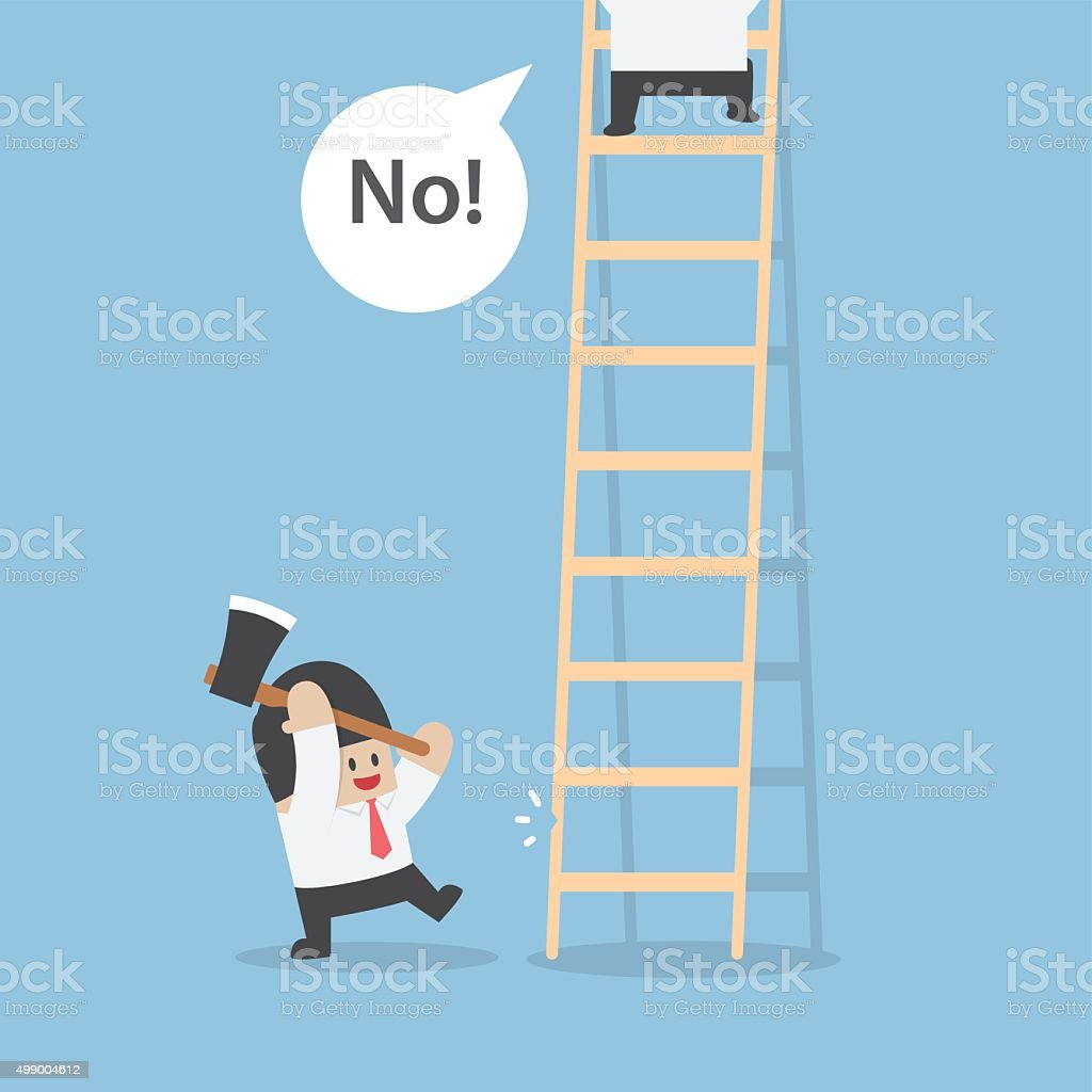 Businessman destroy ladder of his rival by axe vector art illustration
