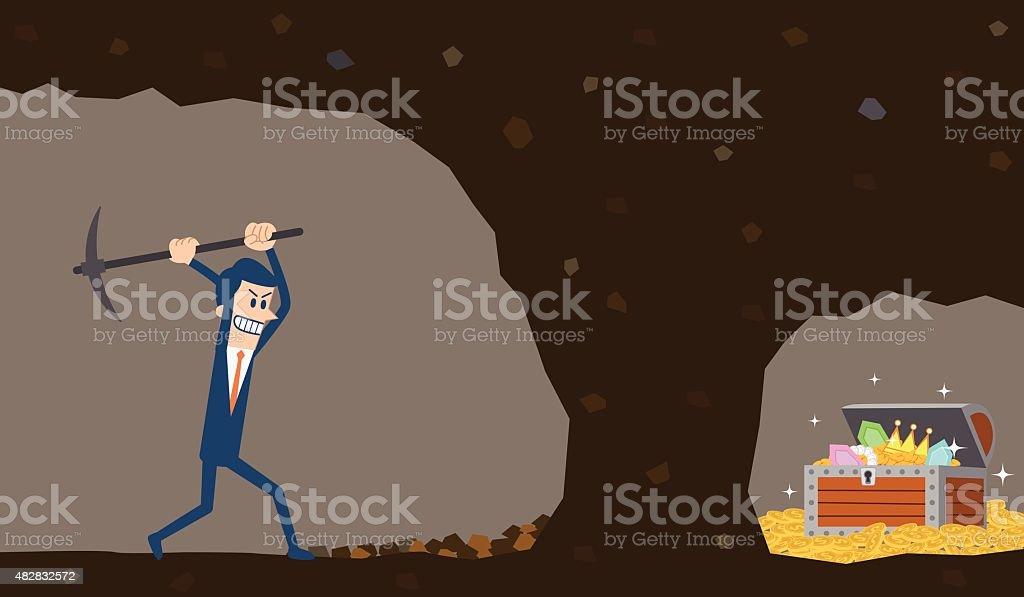 Businessman digging to find treasure vector art illustration