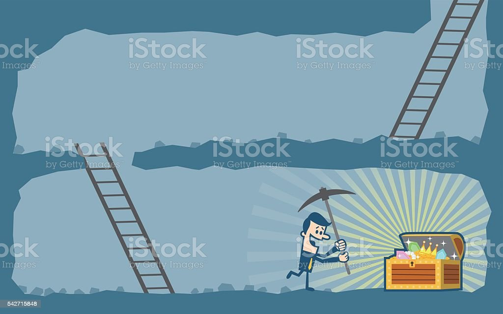 Businessman digging to find treasure vector art illustration