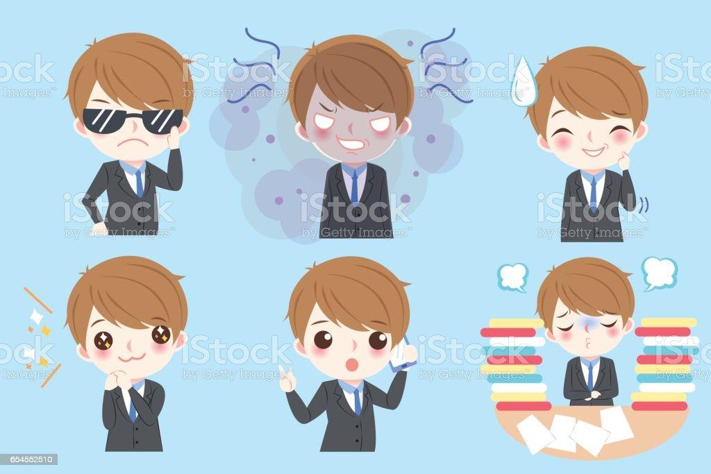 businessman do different emotion vector art illustration