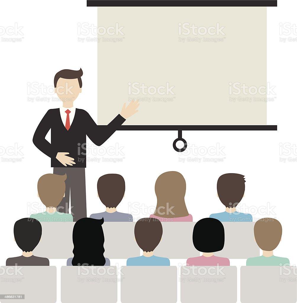 businessman doing a presentation vector vector art illustration